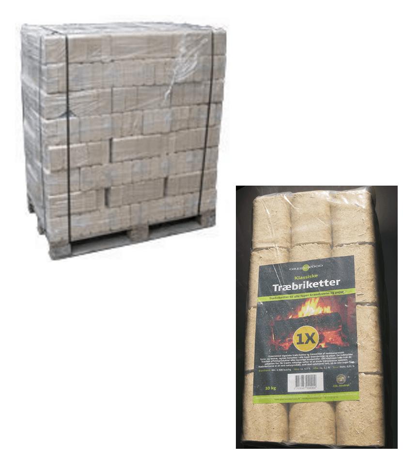 Billig brænde - Øko-miljø træbriketter af birke og fyrretræ